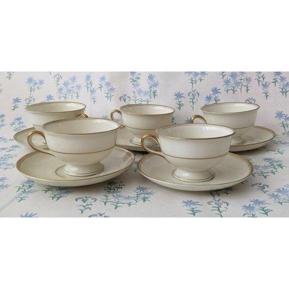 Set 5 Vintage KPM Royal Ivory Tea Cups & Saucers
